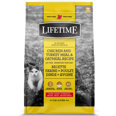 LifeTime - Nourriture pour chat au poulet, dinde et à l'avoine 15 lbs (to be translated)