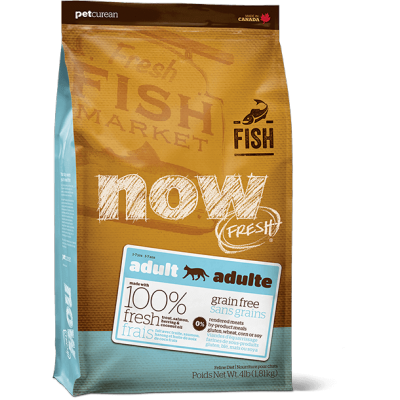 Petcurean - Now Fresh - Nourriture pour chat adulte Formule SANS GRAINS Truite, Saumon et Hareng 3.63 kg