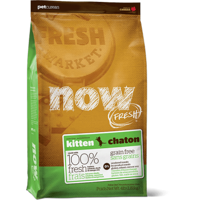 Petcurean - Now Fresh - Nourriture pour chaton Formule SANS GRAINS Dinde, Saumon et Canard 3.63 kg