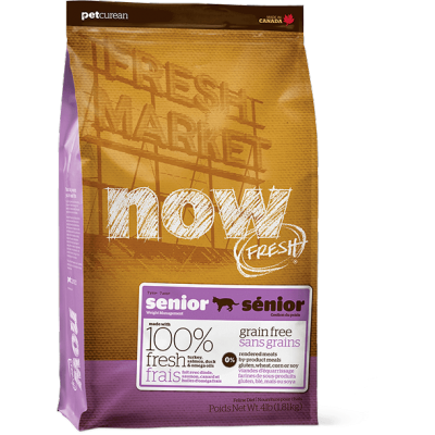 Petcurean - Now Fresh - Nourriture pour chat sénior Formule SANS GRAINS Dinde, Saumon et Canard 1.81 kg