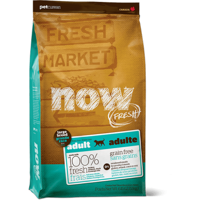 Petcurean - Now Fresh - Nourriture pour chien adulte de grande race Formule SANS GRAINS Dinde, Saumon et Canard 11.4kg